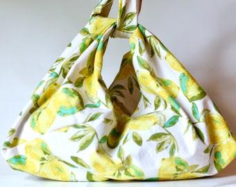 bento bag // kntting project bag // lunch bag // market tote // lemon fabric // tie handles