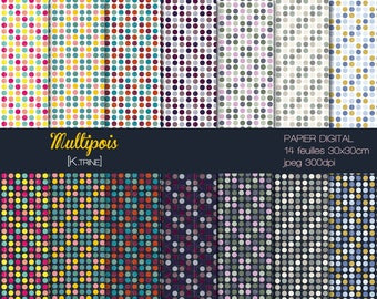 Multipois 14 sheets for scrapbooking digital paper