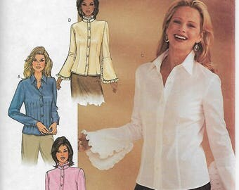 Butterick 3969 Size 6-8-10 or 18-20-22 Bust 30 1/2-31 1/2-32 1/2 or 40-42-44 Misses'/Misses' Petite Blouse Sewing Pattern 2003 Uncut