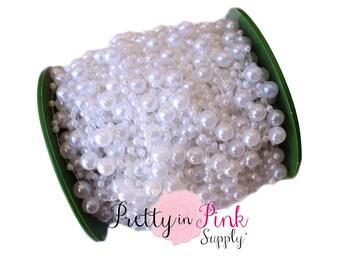White Pearl Beaded Trim- Pearl Trim- You choose yardage-White Trim-Wedding Trim-Headband trim by the yard