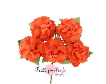 """1"""" PREMIUM Blood Orange Paper Flowers, Wire Paper Flowers, Floral Crown Flowers, 3cm Flowers, Headband Flowers, Headband Supply, DIY Supply"""