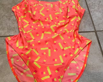 Vintage 90's La Blanca Neon High Cut Button One Piece Swim Bathing Suit L leotard onesie bikini