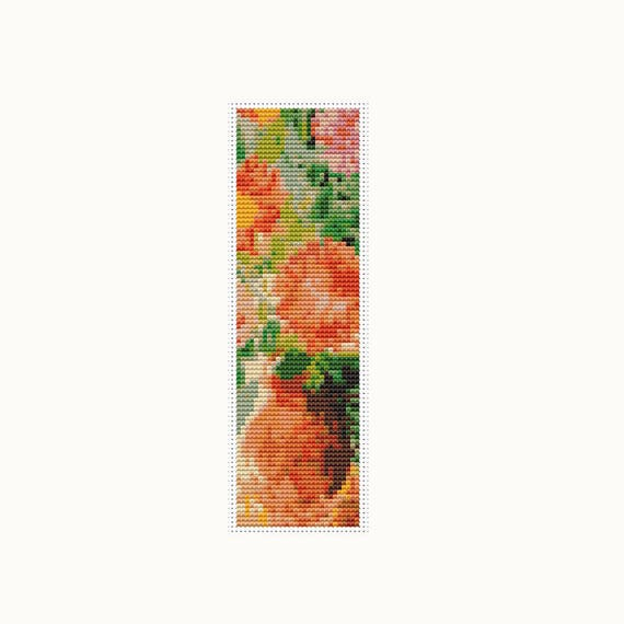 Grand bouquet bookmark cross stitch pattern pdf flowers