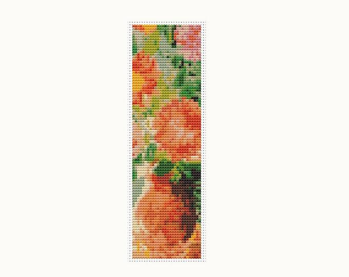 Bookmark Cross Stitch Pattern PDF, Embroidery Chart, Art Cross Stitch, Grand Bouquet by Moise Kisling (BK14)