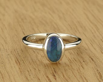 0.63ct Semi-Black Opal Ring in 925 Sterling Silver Size 4 SKU: 1979B016-925