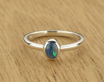 0.18ct Semi-Black Opal Ring in 925 Sterling Silver Size 4.5 SKU: 1979B019-925