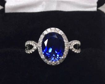 Gorgeous 3ct Sapphire Ring Sz 7 8 Sterling Silver White Sapphires Jewelry Trends and Gemstones Blue Oval Sapphire Ring September Birthstone