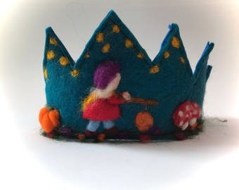 Felted Crown.Waldorf.Bithday.Lantern walk.