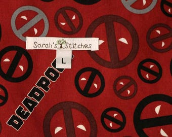 Cloth Diaper Wetbag, Deadpool, Diaper Pail Liner, Diaper Bag, Day Care Size, Holds 12 Diapers, Size Large with Handle #L124