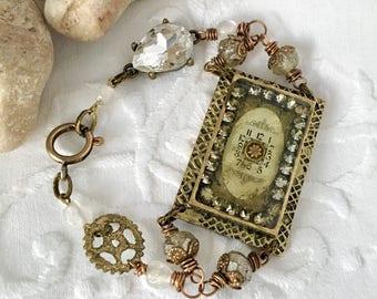 Antique Watch Parts Bracelet Steampunk Jewelry Resin Bracelet Mixed Media Jewelry WinterPearlDesigns