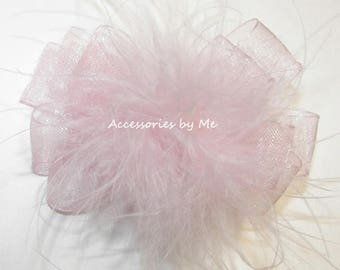 Marabou Bow Clip, Pink Baby Hair Bow, Flower Girl Feather Clip, Pigtails Marabou Bow Clippie, Pink Marabou Bow, Easter Frilly Baby Bow Clips