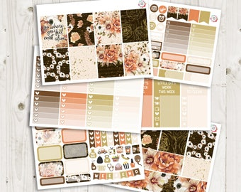 Rustic Floral Vertical Weekly Kit - ECLP Stickers