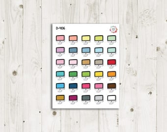 Computer Multicolor Planner Stickers - ECLP Stickers