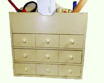 Office Caddy for Your Desk. Repainted & Upcycled w/Cubby Holes for Pencils, Letters and All Your Office Supplies