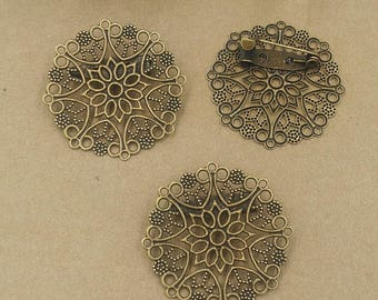 20 supports brooch brass bronze 30mm cabochon