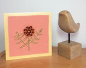 Greeting cards, fabric greeting cards, handstitched cards, birthday card, flower of the month card
