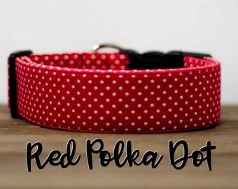 "Modern Classic Fashion Inspired Dog Collar ""The Red Polka Dot"""