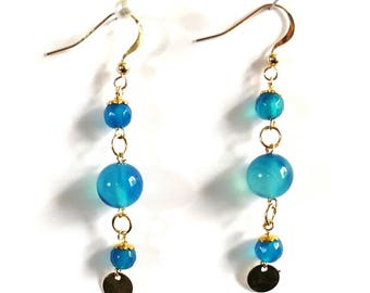 Gold filled, turquoise agate earrings