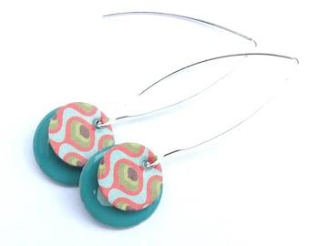 sequins pop tag sequin green enamel earrings