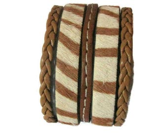Brown Zebra leather Cuff Bracelet