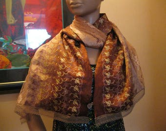 """scarf/scarf for women - silk and lace - pattern """"Fawn"""""""