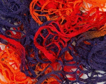 Handmade - ruffle scarf orange, purple and Red nets
