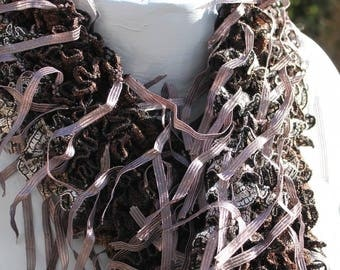 handmade scarf with fringe - fancy - Brown / taupe