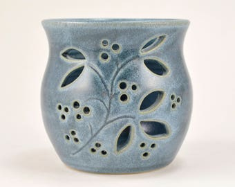 Candle Holder Luminary Votive Candle Tea Light Holder Wheel Thrown Stoneware Pottery Blue Home Decor