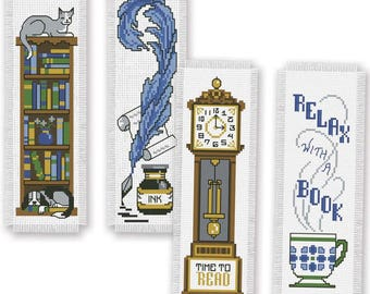 Cross Stitch Kit - Book Lovers Bookmark   Set of 4