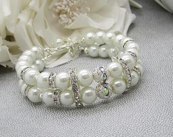 Pearl Strand Bracelet, Ivory Wedding Jewellery, Pearl Cuff,  Bridal Pearls, Rhinestone Bracelet
