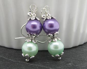 Mint and Lavender Pearl Drops, Lilac and Mint Bridesmaid Earrings, Pastel Wedding Pearl Sets, Bridesmaid Gifts, Purple and Green