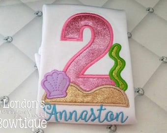 Under the Sea Number Appliqué T-shirt! Perfect for Birthdays!! Embroidered T-shirt/ Toddler T-shirt