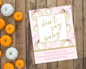 Dont Say Baby Game - Little Pumpkin Baby Shower Game - Fall Baby Shower - Pumpkin - Pink and Gold - INSTANT DOWNLOAD - Printable