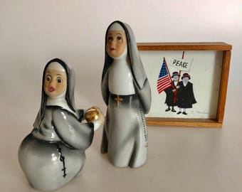 vintage porcelain baseball nun figurines