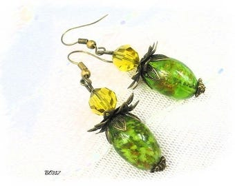 Green murano BO357 style earrings