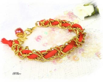 trendy braided gold and Red BR671 bracelet