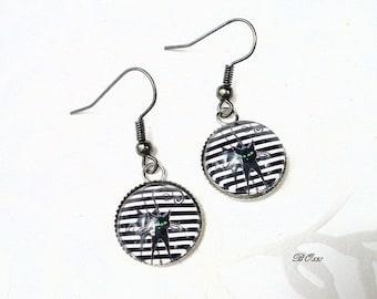Earrings black cat and stripes BO538