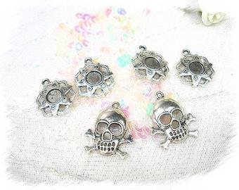set of 6 metal skull star charms