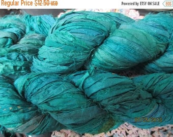 Summer Sale Sari Silk Ribbon Skein,  60 yards, 100 grams grams, Turquoise / Aqua, Reflecting Pools, Jewelry or Arts and Crafts