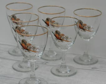 Set of 6 Wine Glasses, Retro/Vintage Glasses 1960s
