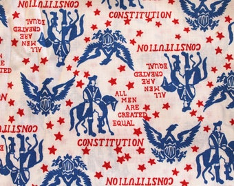 "Vintage 1970s Cotton Novelty Print Fabric: American Patriotic ""Constitution"" Print Print in Red and Blue on White- By the Yard"