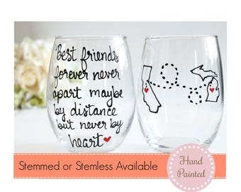Best Friends Wine Glass, Best friend Gift, Long Distance Best Friend ,Best Friend Long Distance, Best Friend Moving Away Gift, Stemless Wine