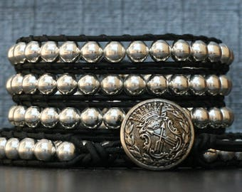 beaded leather wrap bracelet- silver metal beads on black leather - mens or womens