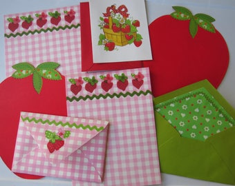 Vintage Stationery Strawberry Collection  ~ Rick Rack and Calicos