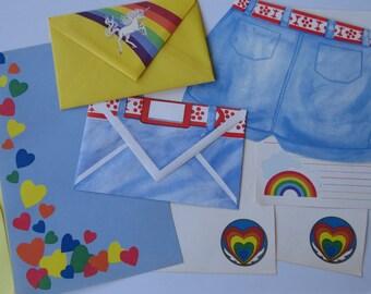 Vintage 80's Stationery Mini Set - Rainbows & Unicorn
