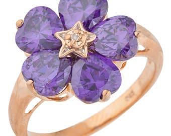 14Kt Rose Gold Plated 5 Hearts Amethyst & Diamond Heart Flower Design Ring