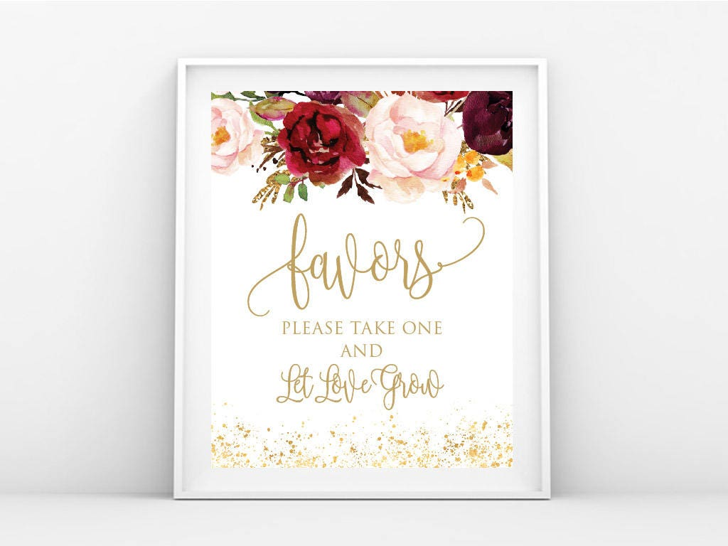 Instant Download, Favors Sign, Gold Wedding Favor Print Ready ...