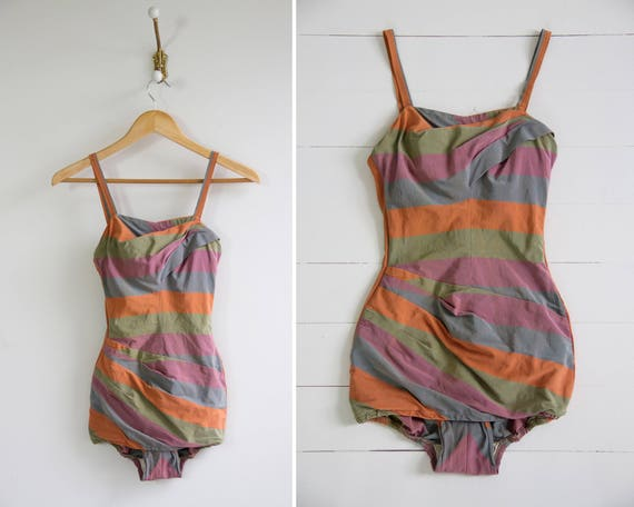 vintage 1950s swimsuit | rose marie reid | 50s bathing suit | pinup swimwear one piece