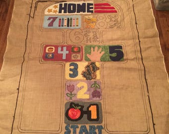 Vintage Hopscotch I hooked rug pattern by Difranza Designs (in progress).