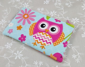 Cute Owl Zip Pouch - Cute Coin Pouch - Change Purse Wallet - Small Gift ideas - Padded Zip Wallet - Fantasy Zipper Pouch